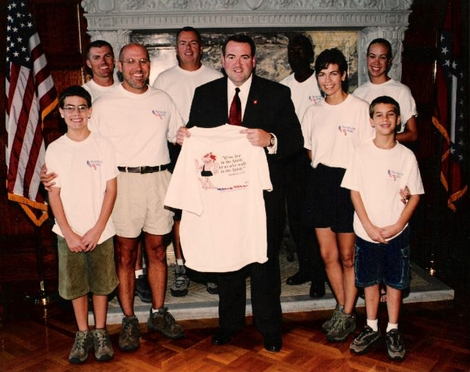 With Governor Mike Huckabee on our first prayerwalk, 2001