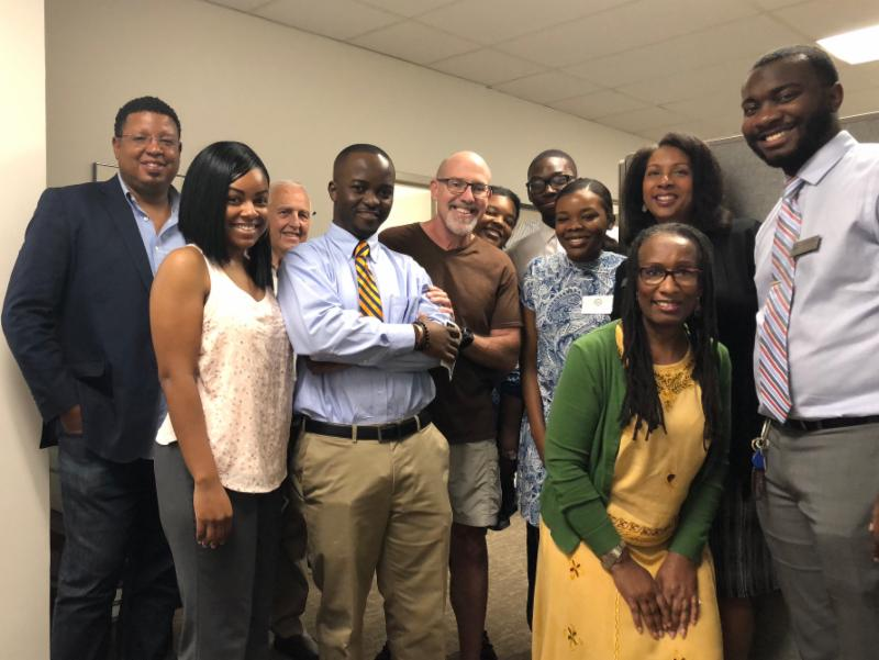 Almost the entire staff at Congresswoman Alma Adams office in Charlotte, NC  Two buddies, Pastors Barrett Berry, (L) and Roy Young (3rd from L) SWEET TIME!