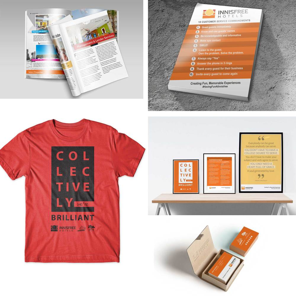 A variety of pieces were designed including t-shirts, posters, a full stationary set, rack cards, brochures and luggage tags.
