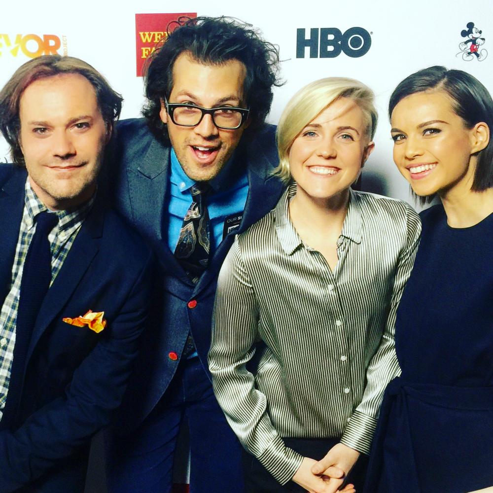 Wilson Cleveland, Drew Baldwin, Hannah Hart and Ingrid Nilsen at 2015 Trevor Live