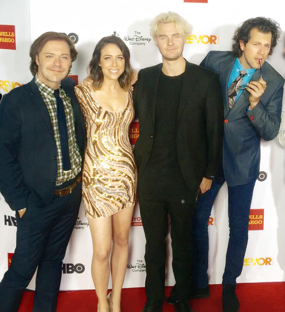 Wilson Cleveland, Shira Lazar, Bart Baker and Drew Baldwin at 2015 Trevor Live