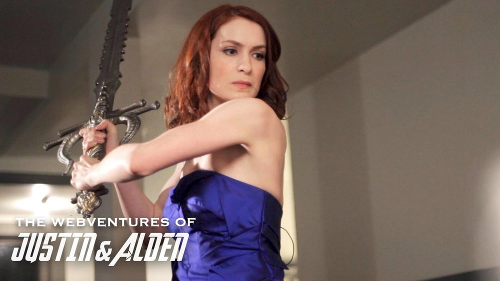 Felicia Day swings her broadsword backstage at the Streamy Awards