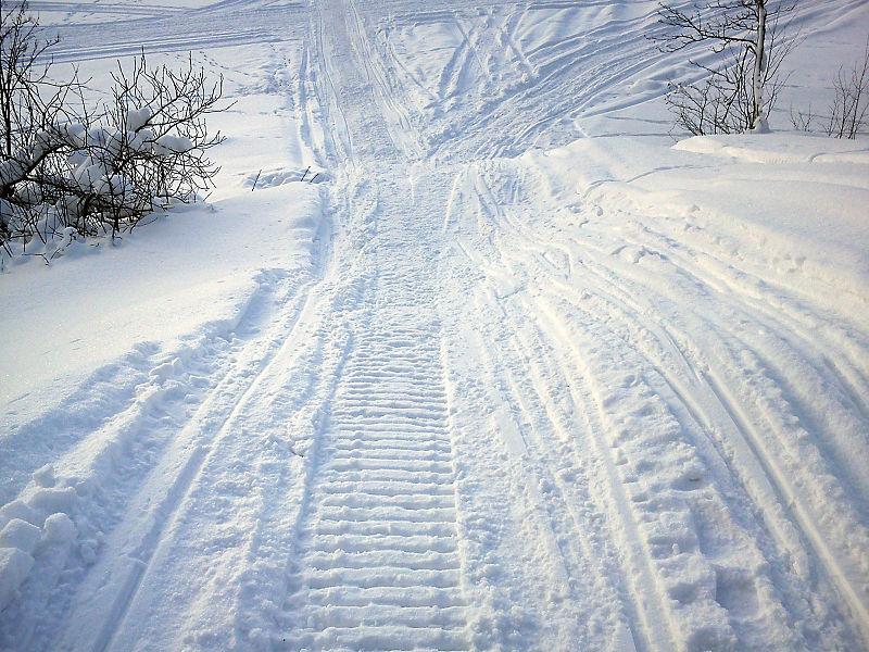 (Kilde: WIkimedia -Snowmobile tracks.jpg)