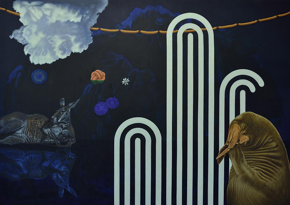 "Svenja Maaß ""Du wässerst meine Kresse"" 2013, 190 x 270 cm, Öl auf Nessel"