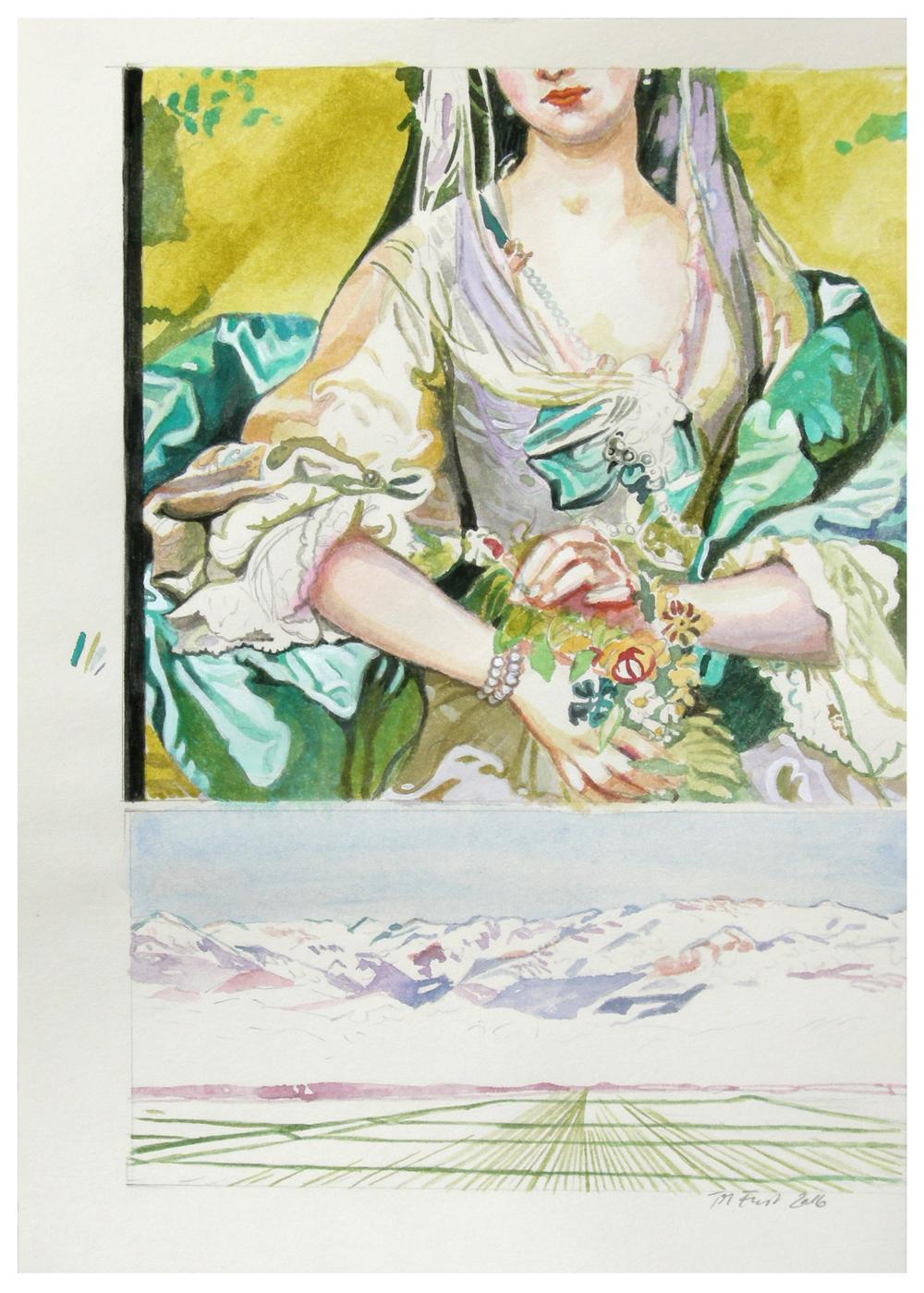 ideale landschaft 07 – rokoko – Aquarell auf Papier, 29,7 x 21 cm, 2016