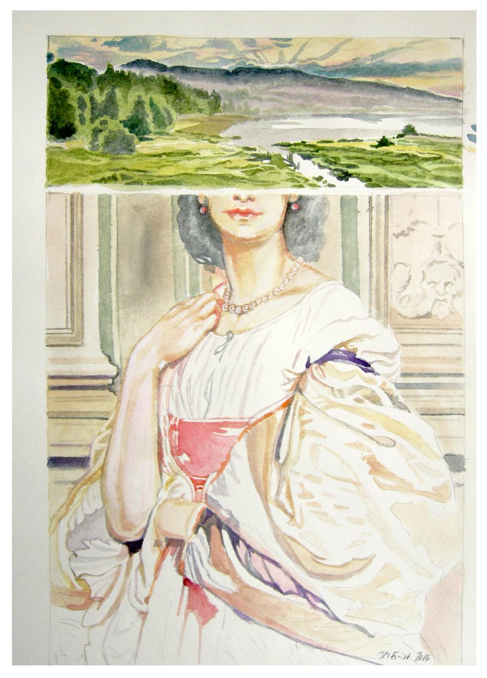 ideale landschaft 11 –römische dame – Aquarell auf Papier, 29,7 x 21 cm, 2016