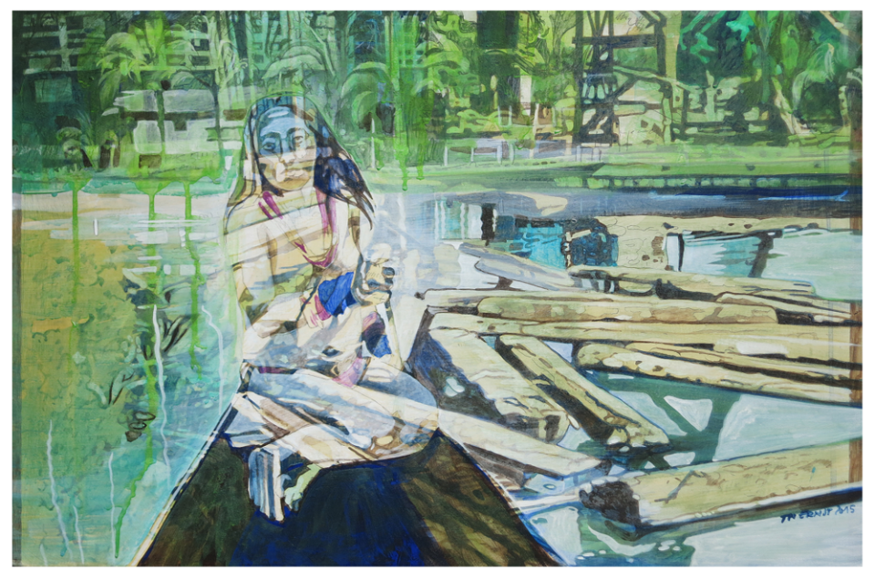 blaues kanu 01 – Eitempera auf Kreidegrund auf Holzrahmen, 40 x 61 cm, 2015