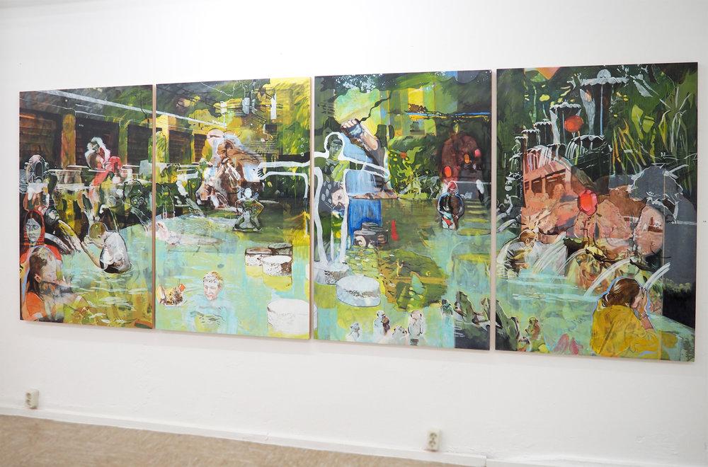 """""""die quelle"""" – 2012 – Acryl auf Holz – vierteilig – 145 x 380 cm"""
