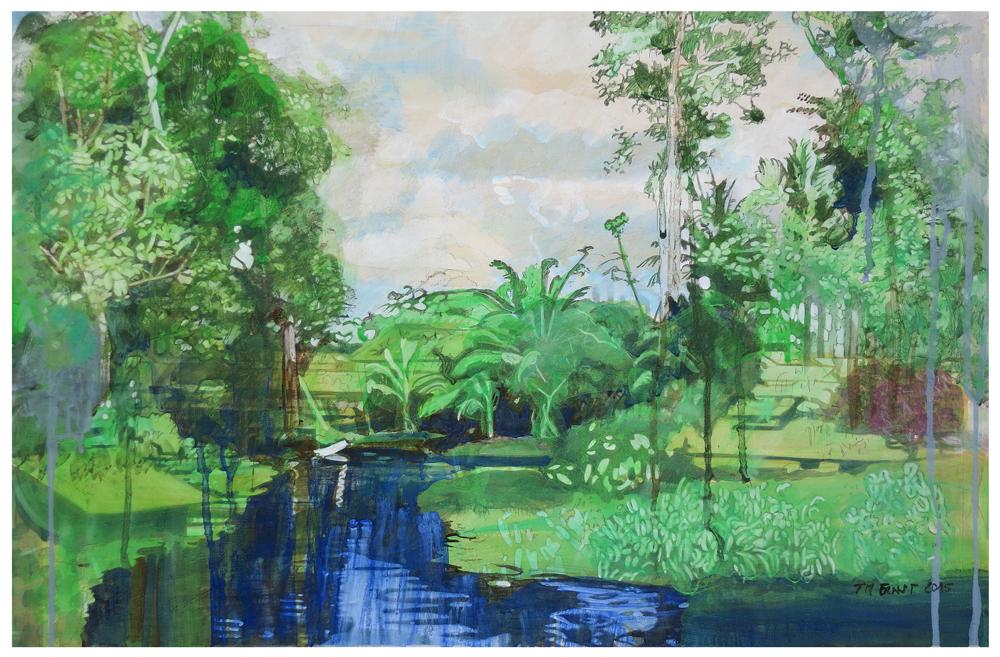 flussufer 02 – Eitempera auf Kreidegrund auf Holzrahmen, 40 x 61 cm, 2015