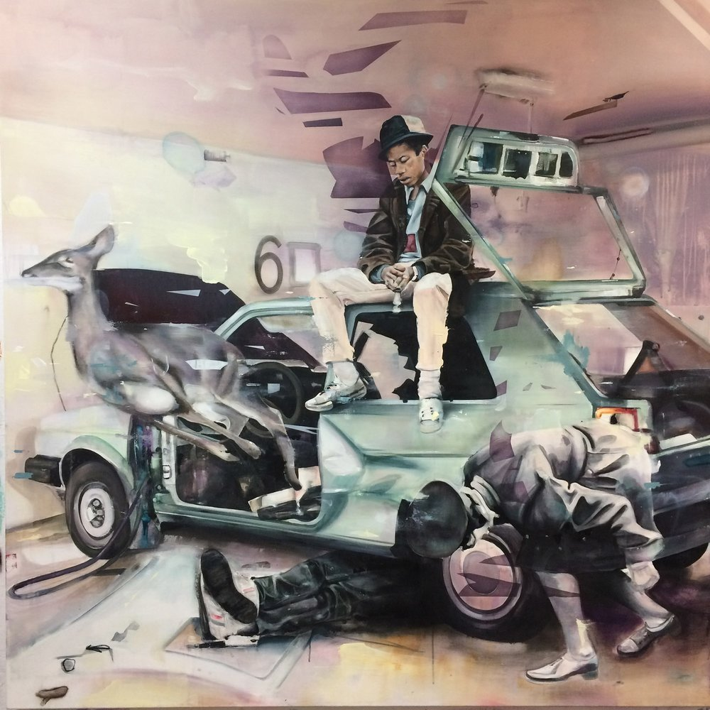 Totalschaden  2017, 165 x 165 cm Acryl auf Leinwand  6.900 €