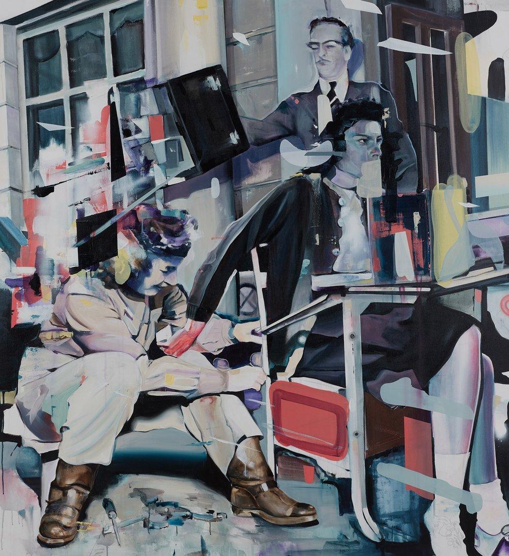 Splittergruppe  2017, 165 x 180 cm Acryl auf Leinwand  6.900 €