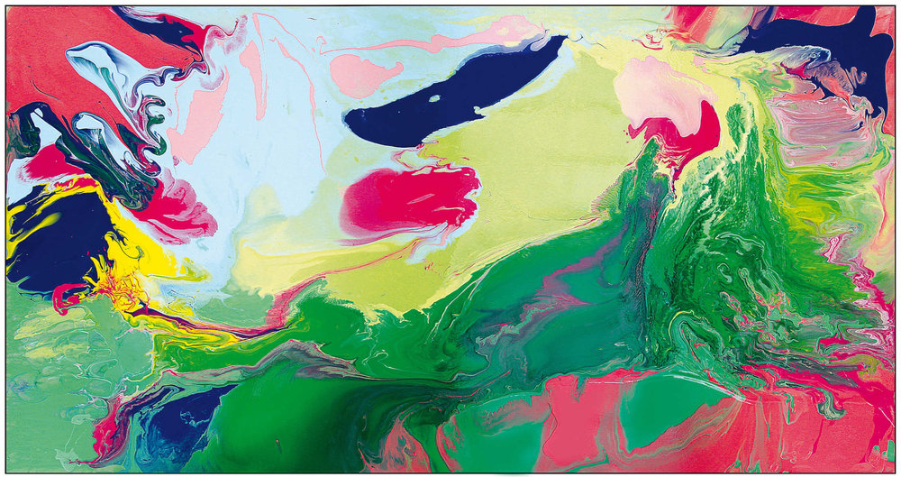 Green, Lightgreen, Blue Wasserlack-Schüttung, 197 x 108 cm, 2018,  Preis siehe Preisliste
