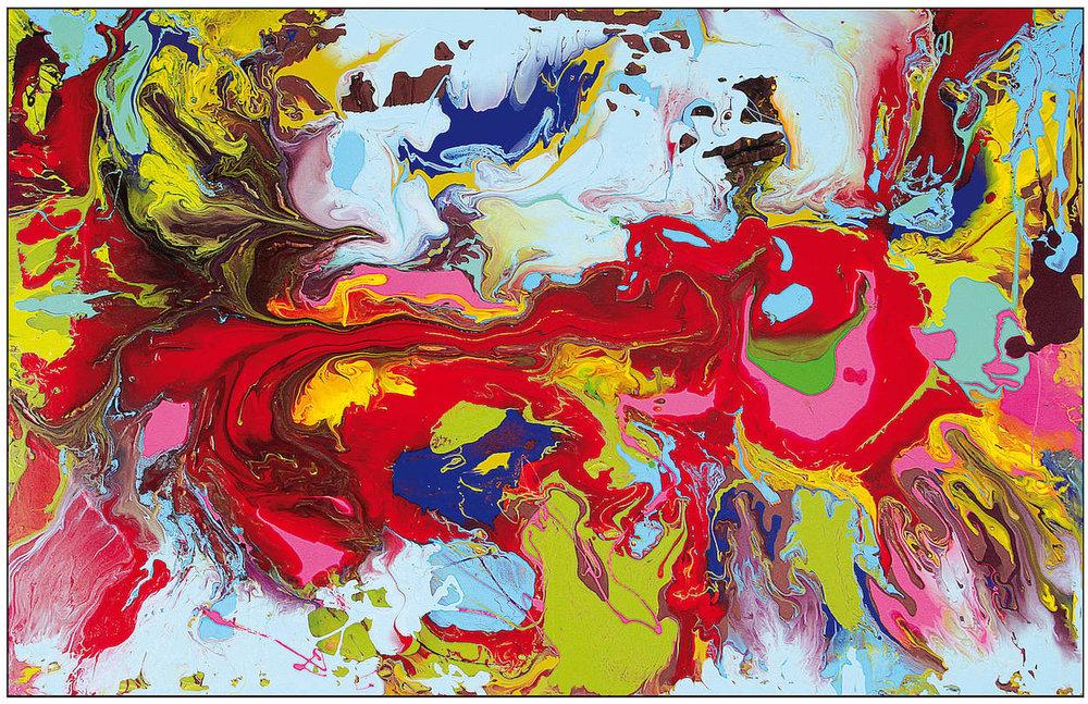 Red, Green, Blue , Wasserlack-Schüttung, 195 x 128 cm, 2018,  Preis siehe Preisliste
