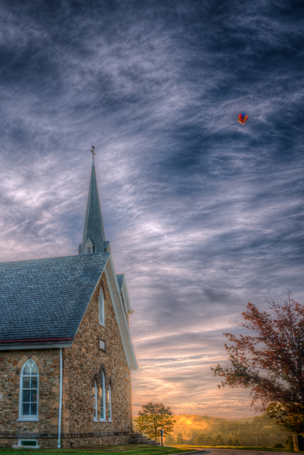 Church with Balloon in the Early Morning