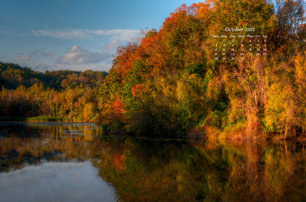 October 2012 Calendar Fall Foliage