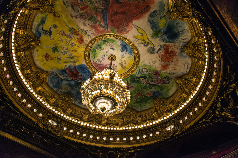 The modern art ceiling of the theater