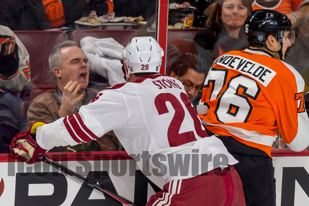 27 Jan 2015: A fan yells at Arizona Coyotes left wing Lauri Korpikoski (28) during the NHL game between the Arizona Coyotes and the Philadelphia Flyers played at the Wells Fargo Center in Philadelphia, PA