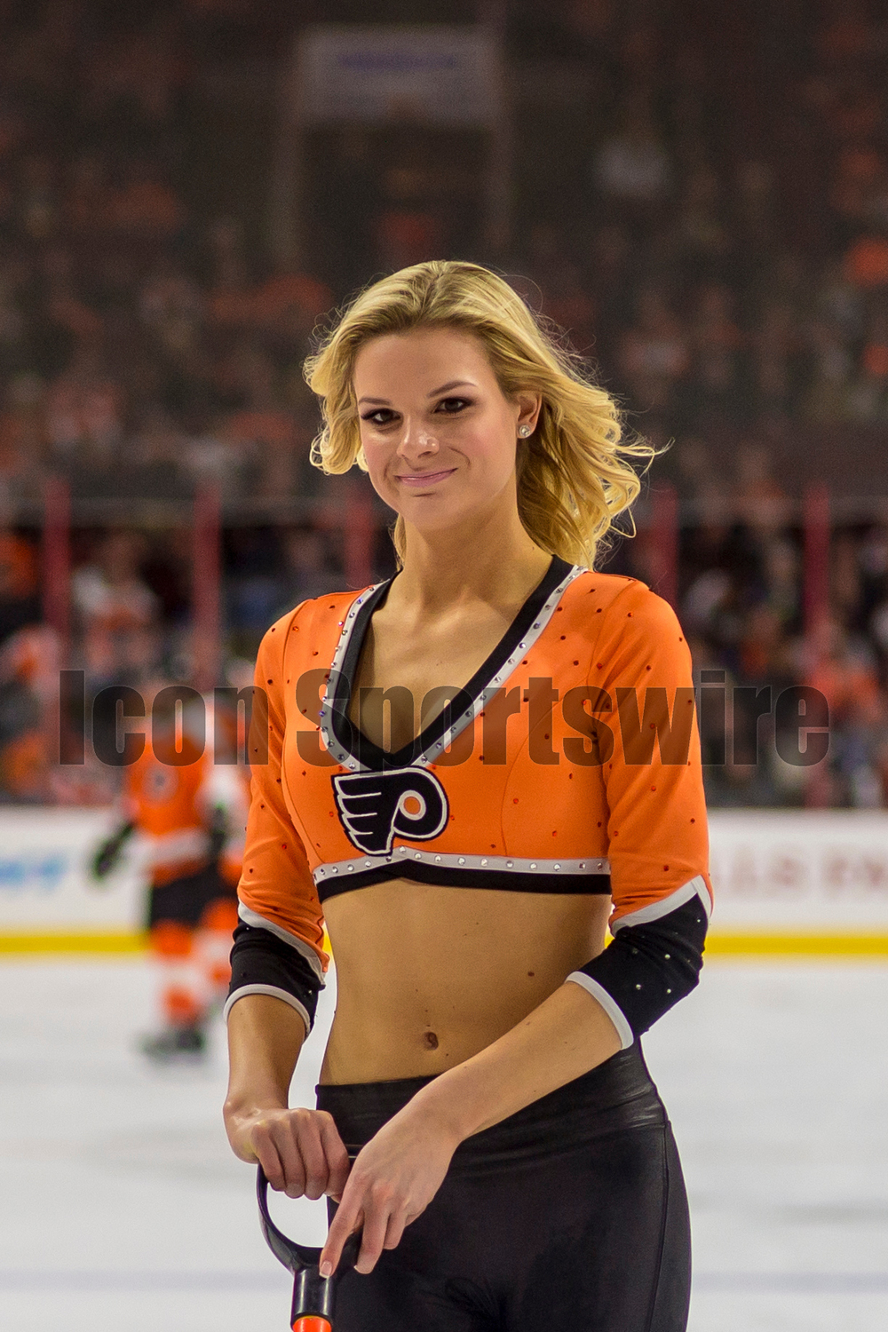 27 Jan 2015: A Philadelphia Flyer's ice girl  during the NHL game between the Arizona Coyotes and the Philadelphia Flyers played at the Wells Fargo Center in Philadelphia, PA