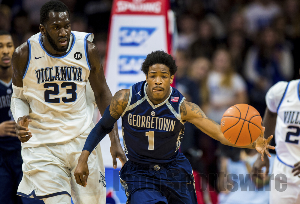 7 Feb 2015: Georgetown Hoyas guard Tre Campbell (1) snares the ball and charges up court during the NCAA men's basketball game between the Georgetown Hoyas and the Villanova Wildcats played at the Wells Fargo Center in Philadelphia, PA
