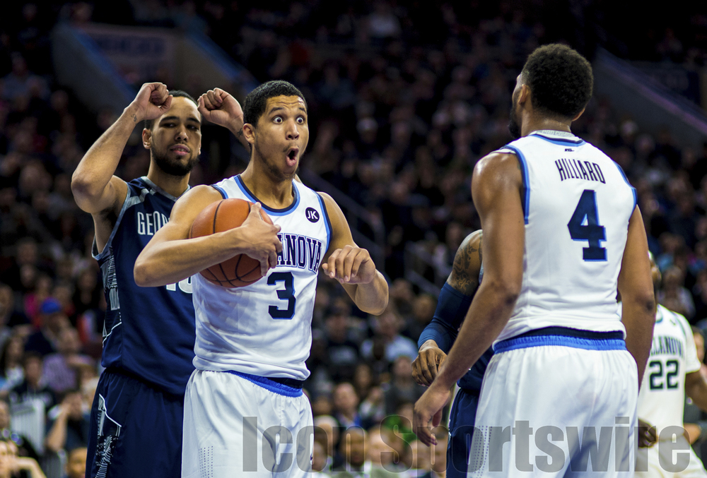 7 Feb 2015: Villanova Wildcats guard Josh Hart (3) reacts to a call during the NCAA men's basketball game between the Georgetown Hoyas and the Villanova Wildcats played at the Wells Fargo Center in Philadelphia, PA