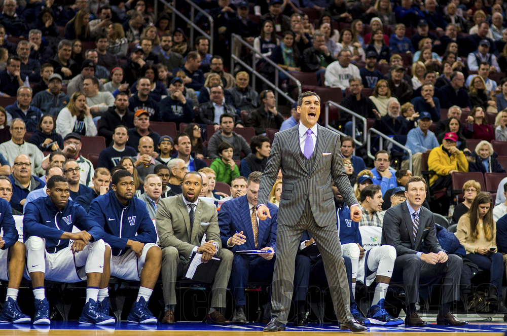 7 Feb 2015: Villanova Wildcats head coach Jay Wright shouts and reacts during the NCAA men's basketball game between the Georgetown Hoyas and the Villanova Wildcats played at the Wells Fargo Center in Philadelphia, PA