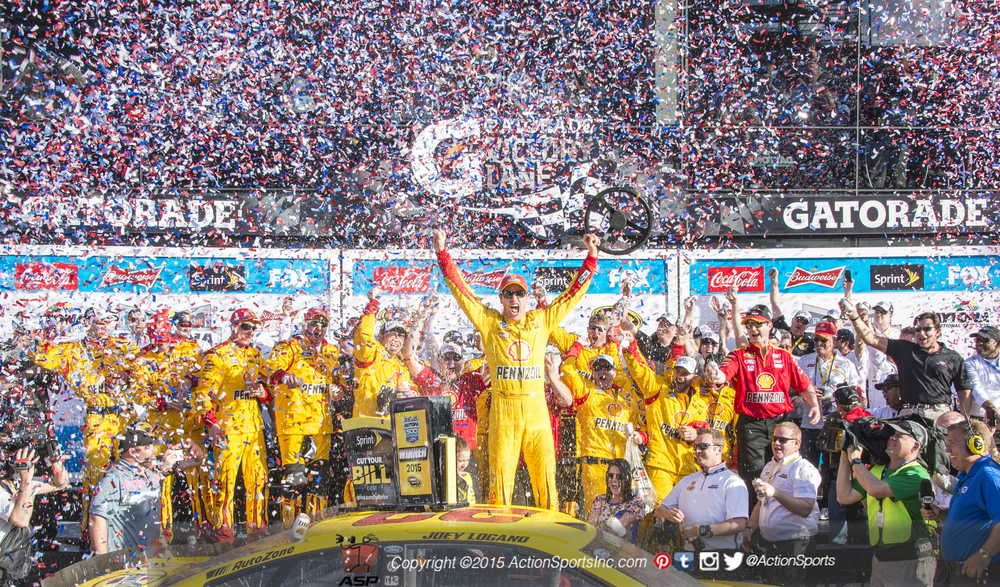 Joey Logano Driver of the (22) Penske Ford celebrates his victory after the Daytona 500