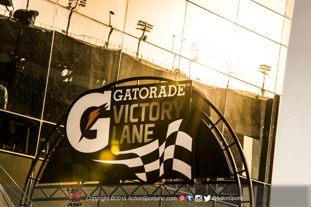 The sun goes down overGatorade Victory Lane at Daytona International Speedway