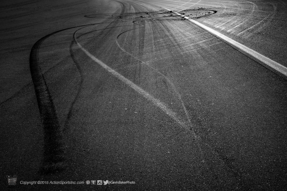 Rubber marks the location on the racetrack from the final burnout of the Kobalt 400 on the front stretch