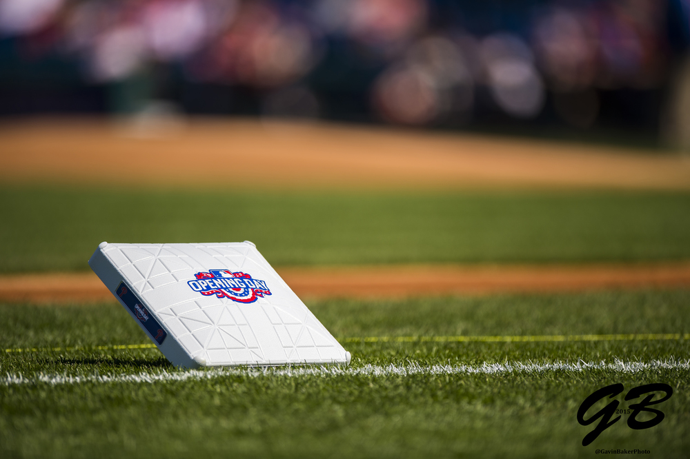 06 April 2015: Third base alerts fans that it's opening day before the MLB game between the Boston Red Sox and the Philadelphia Phillies played at Citizens Bank Park in Philadelphia, PA