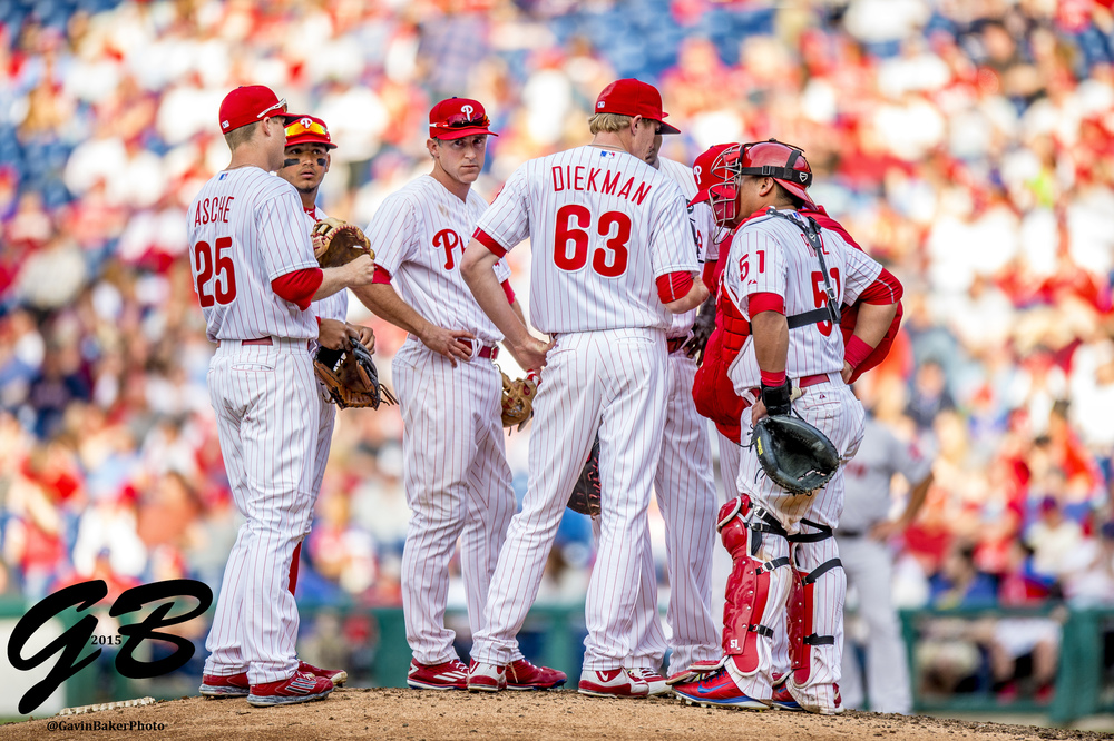 06 April 2015: Philadelphia Phillies second baseman Chase Utley (26) Philadelphia Phillies third baseman Cody Asche (25), Philadelphia Phillies relief pitcher Jake Diekman (63), and Philadelphia Phillies catcher Carlos Ruiz (51) meet at pitcher's mound during during the MLB game between the Boston Red Sox and the Philadelphia Phillies played at Citizens Bank Park in Philadelphia, PA
