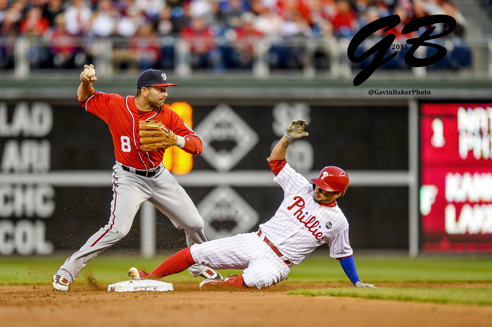 11 April 2015: Washington Nationals second baseman Danny Espinosa (8) tries for the double play after forcing Philadelphia Phillies shortstop Freddy Galvis (13) out at second during the MLB game between the Washington Nationals and the Philadelphia Phillies played at Citizens Bank Park in Philadelphia, PA