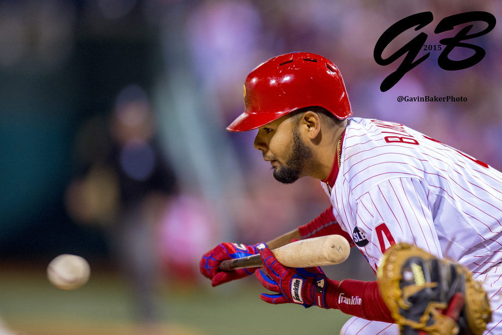11 April 2015: Philadelphia Phillies shortstop Andres Blanco (4) looks to bunt during the MLB game between the Washington Nationals and the Philadelphia Phillies played at Citizens Bank Park in Philadelphia, PA