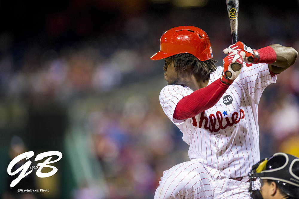 21 Apr 2015: Philadelphia Phillies center fielder Odubel Herrera (37) pulls back to swing during the MLB game between the Miami Marlins and the Philadelphia Phillies played at the Citizens Bank Park in Philadelphia, PA