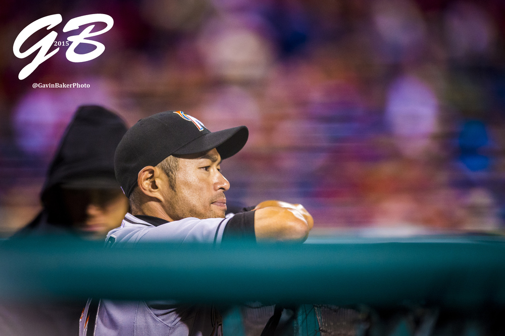 21 Apr 2015: Miami Marlins left fielder Ichiro Suzuki (51) looks on during the MLB game between the Miami Marlins and the Philadelphia Phillies played at the Citizens Bank Park in Philadelphia, PA