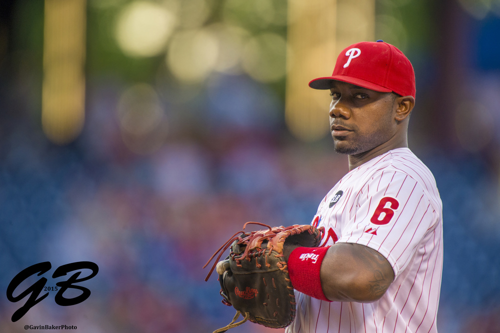 08 May 2015: Philadelphia Phillies first baseman Ryan Howard (6) ready at first base during the MLB game between the New York Mets and the Philadelphia Phillies played at the Citizens Bank Park in Philadelphia, PA