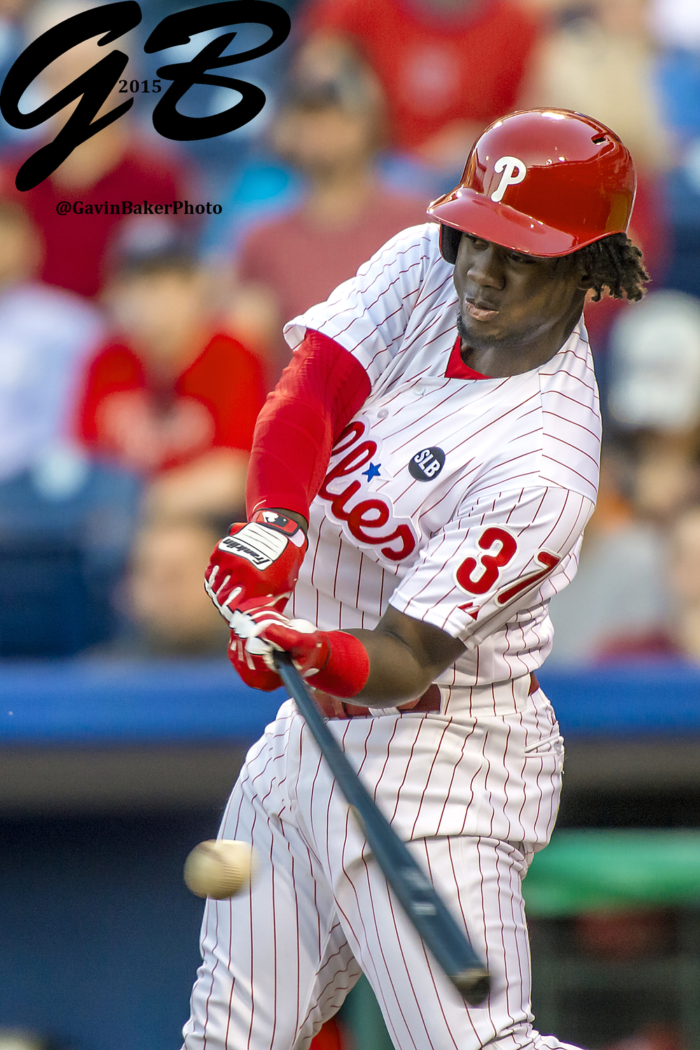 08 May 2015: Philadelphia Phillies center fielder Odubel Herrera (37) connects at the plate during the MLB game between the New York Mets and the Philadelphia Phillies played at the Citizens Bank Park in Philadelphia, PA