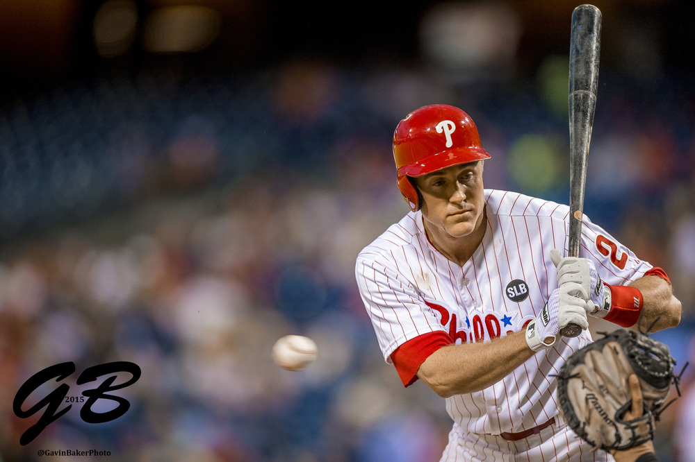 12 May 2015: Philadelphia Phillies second baseman Chase Utley (26) watches a pitch go by during the MLB game between the Pittsburgh Pirates and the Philadelphia Phillies played at the Citizens Bank Park in Philadelphia, PA