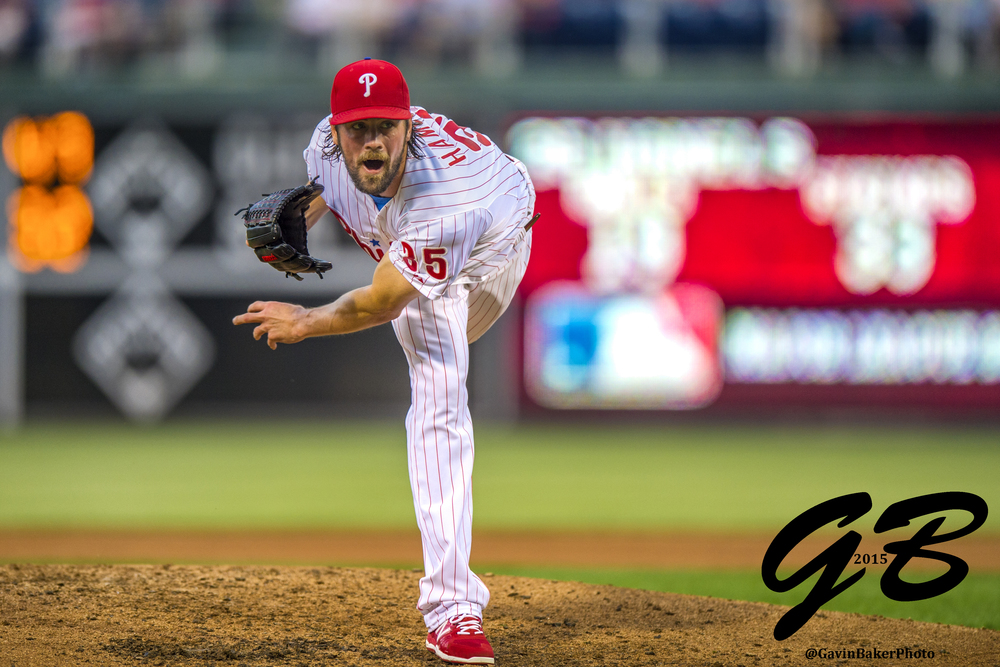 29 May 2015: Philadelphia Phillies starting pitcher Cole Hamels (35) watches his pitch fly during the MLB game between the Colorado Rockies and the Philadelphia Phillies played at the Citizens Bank Park in Philadelphia, PA