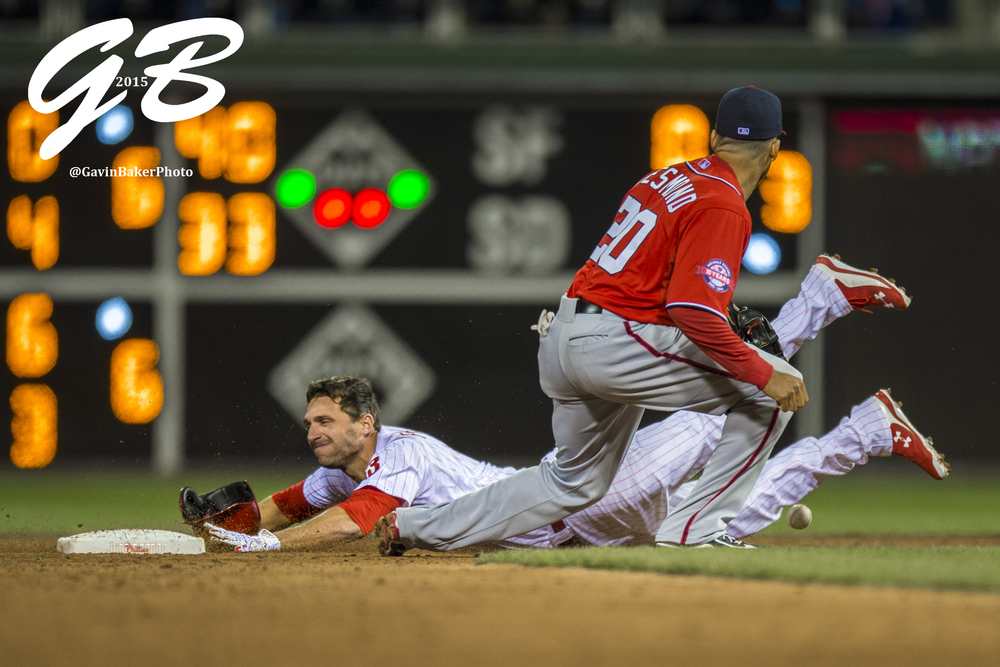 11 April 2015: Philadelphia Phillies right fielder Jeff Francoeur (3) slides safely into second base during the MLB game between the Washington Nationals and the Philadelphia Phillies played at Citizens Bank Park in Philadelphia, PA