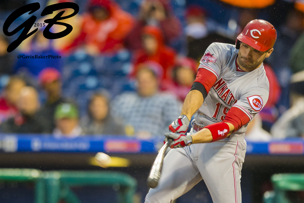 02 June 2015: Cincinnati Reds first baseman Joey Votto (19) breaks his bat as he smacks a fly ball during the MLB game between the Cincinnati Reds  and the Philadelphia Phillies played at the Citizens Bank Park in Philadelphia, PA