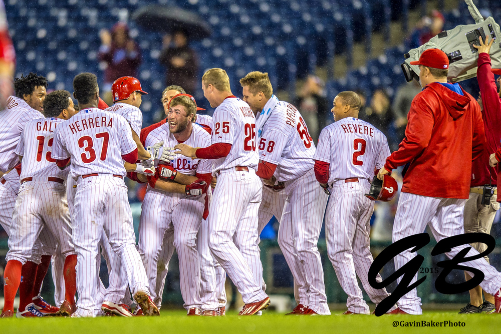 02 June 2015: Teammates surround Philadelphia Phillies first baseman Darin Ruf (18)  and celebrate his walk off RBI concluding the MLB game between the Cincinnati Reds  and the Philadelphia Phillies played at the Citizens Bank Park in Philadelphia, PA. Phillies 5 Reds 4