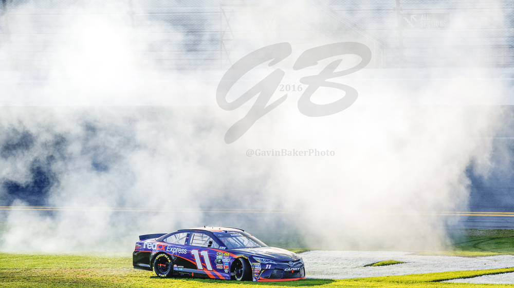 As the smoke from the celebratory burnout of Denny Hamlin cleared, the #11 FedEx Express Toyota sat proudly on the infield Daytona sign claiming its place in Daytona history.