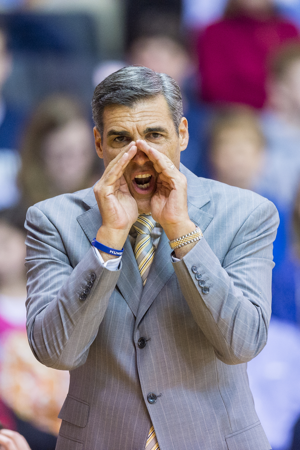 13 December 2015: Villanova Wildcats head coach Jay Wright shouts orders during the NCAA basketball game between the La Salle Explorers and the Villanova Wildcats played at the Pavilion in Villanova, PA. (Photo by Gavin Baker/Icon Sportswire)