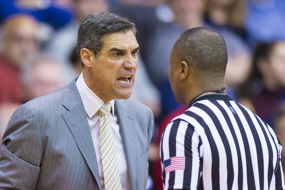 13 December 2015: Villanova Wildcats head coach Jay Wright tries to explain to a referee why it was a bad call during the NCAA basketball game between the La Salle Explorers and the Villanova Wildcats played at the Pavilion in Villanova, PA. (Photo by Gavin Baker/Icon Sportswire)