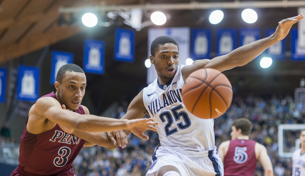 28 December 2015: Villanova Wildcats guard Mikal Bridges (25) keeps Pennsylvania Quakers guard Darnell Foreman (3) from the rebound during the NCAA men's basketball game between the Penn Quakers and the Villanova Wildcats played at Pavillion in Villanova, PA. (Photo by Gavin Baker/Icon Sportswire)