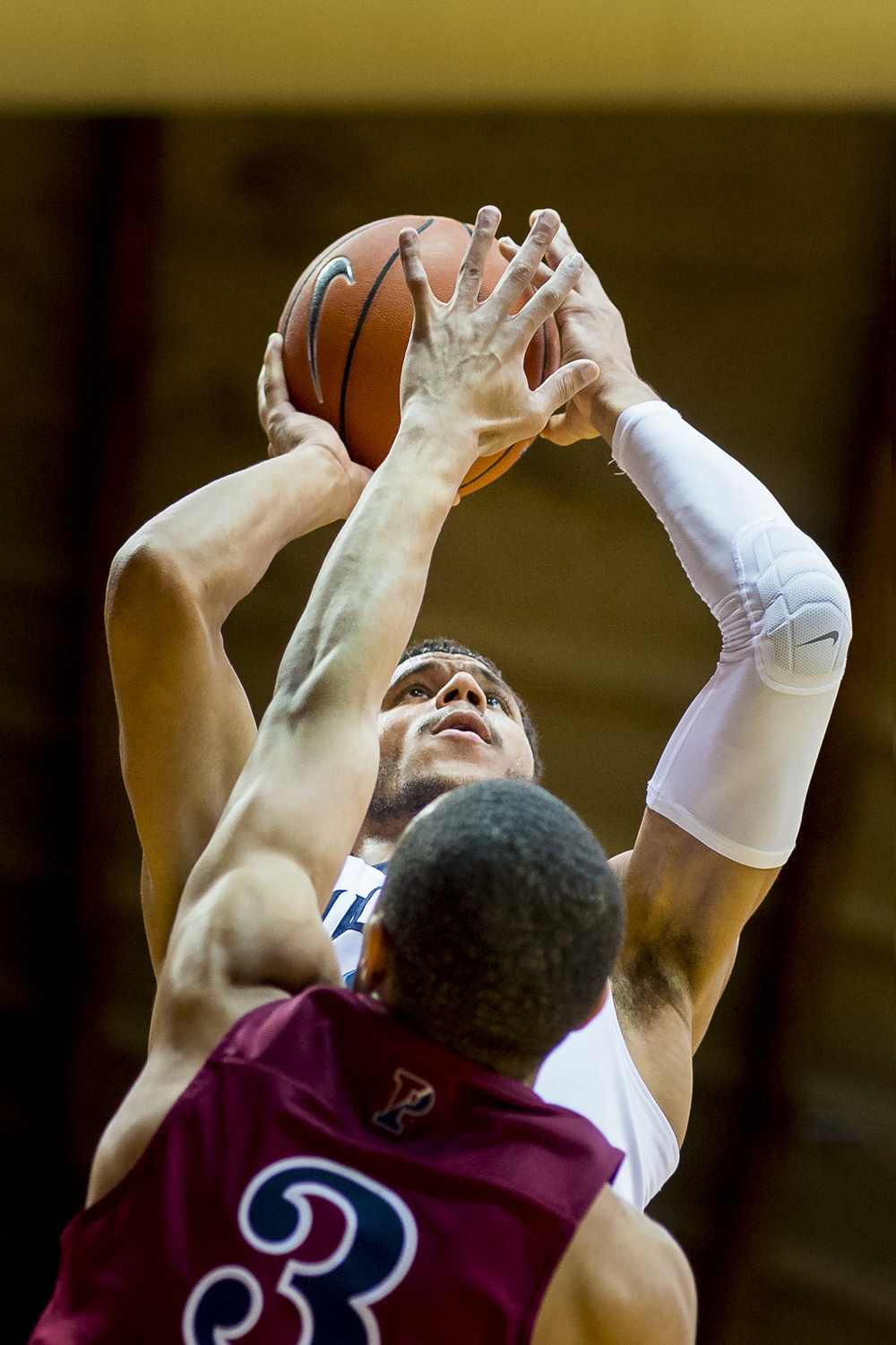 28 December 2015: Villanova Wildcats guard Josh Hart (3) eyes the basket as he aims his shot during the NCAA men's basketball game between the Penn Quakers and the Villanova Wildcats played at Pavillion in Villanova, PA. (Photo by Gavin Baker/Icon Sportswire)