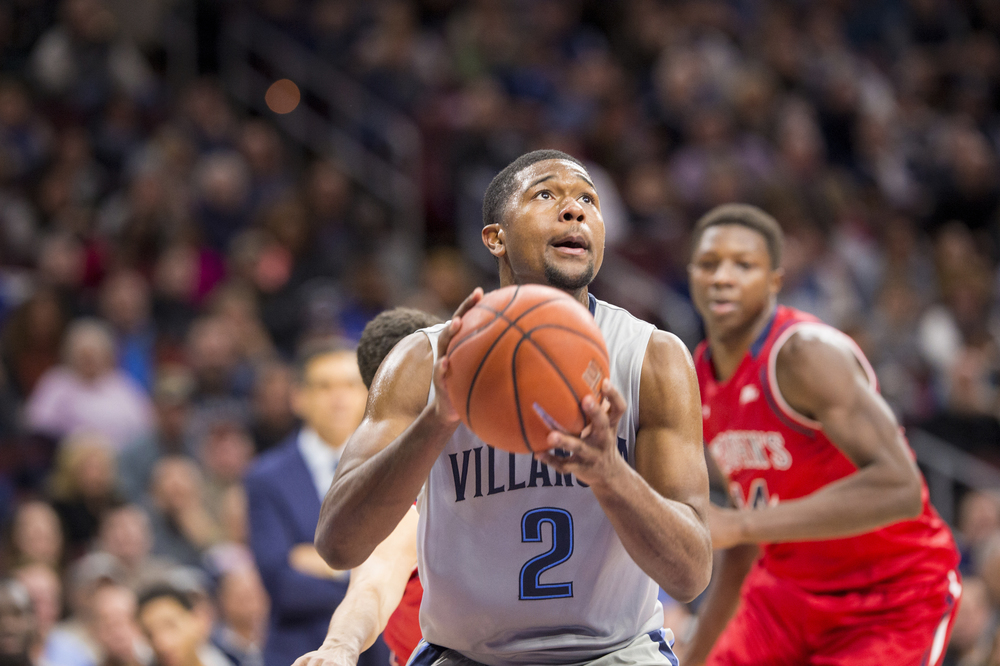 13 February 2016: Villanova Wildcats forward Kris Jenkins (2) eyes his shot during the NCAA basketball game between the St. John's Red Storm and the Villanova Wildcats played at the Wells Fargo Center in Philadelphia, PA. (Photo by Gavin Baker/Icon Sportswire)