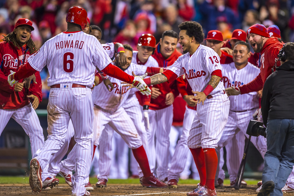 29 April 2016: Philadelphia Phillies first baseman Ryan Howard (6) comes home to congratulations and cheers after his walk off homerun in the bottom of the 11th inning during the MLB game between the Philadelphia Phillies and the Cleveland Indians played at Citizens Bank Park in Philadelphia, PA. (Photo by Gavin Baker/Icon Sportswire)
