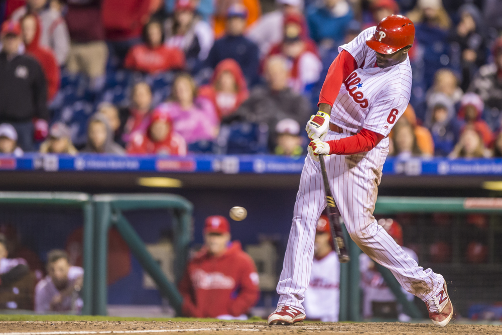 29 April 2016: Philadelphia Phillies first baseman Ryan Howard (6) smacks the game winning home run in the bottom of the 11th inning during the MLB game between the Philadelphia Phillies and the Cleveland Indians played at Citizens Bank Park in Philadelphia, PA. (Photo by Gavin Baker/Icon Sportswire)