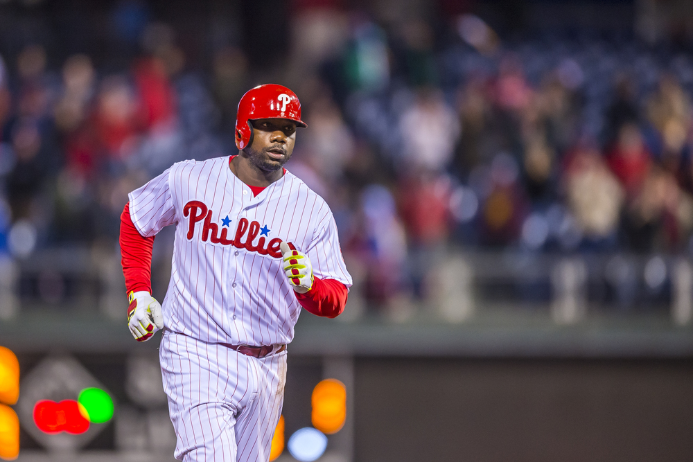 29 April 2016: Philadelphia Phillies first baseman Ryan Howard (6) rounds the bases celebrating his walk off homer in the bottom of the 11th inning during the MLB game between the Philadelphia Phillies and the Cleveland Indians played at Citizens Bank Park in Philadelphia, PA. (Photo by Gavin Baker/Icon Sportswire)